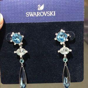 BNWT Swarovski blue crystal earrings.